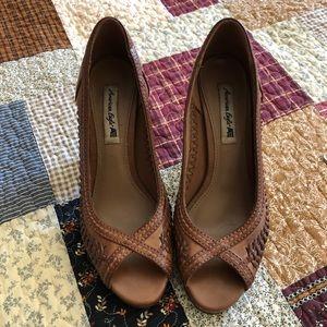 American Eagle tan peep toe heels